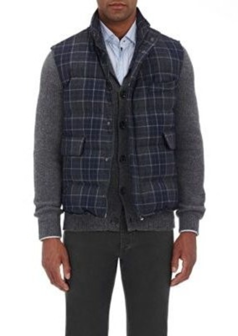 Isaia Men's Plaid Quilted Vest-Grey Size S