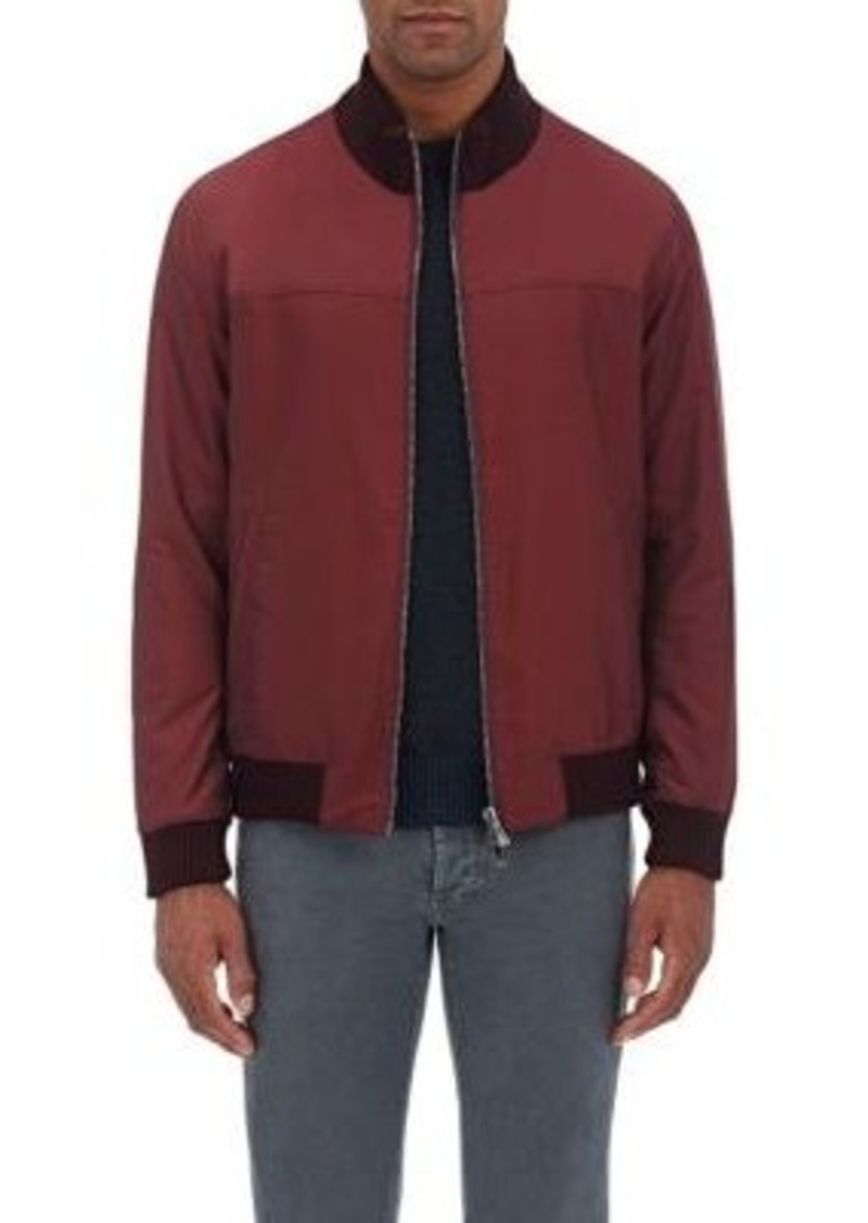 Isaia Men's Reversible Bomber Jacket-Red Size XL