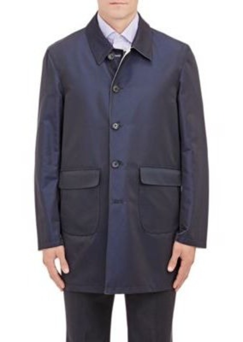 Isaia Men's Reversible Raincoat-Navy Size XXL