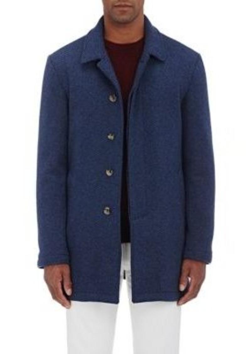 Isaia Men's San Gennaro Herringbone Cashmere Topcoat