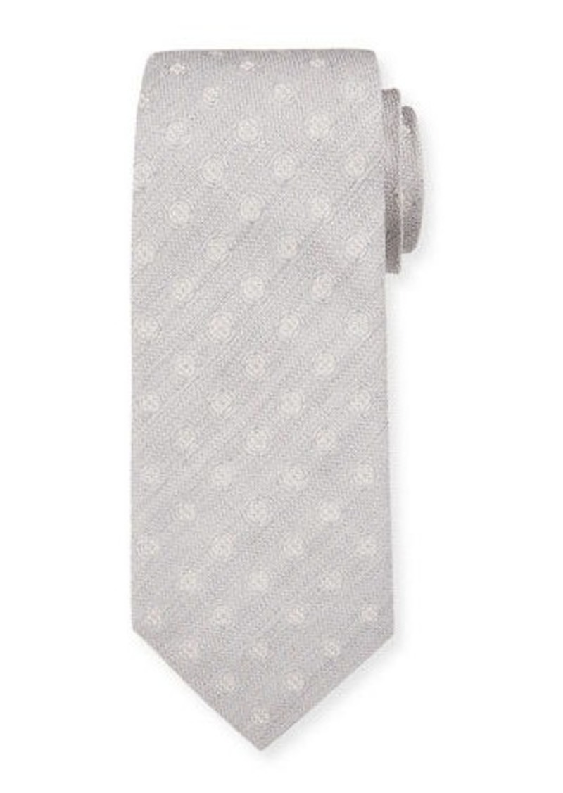 Isaia Men's Silk Textured with Circles Tie