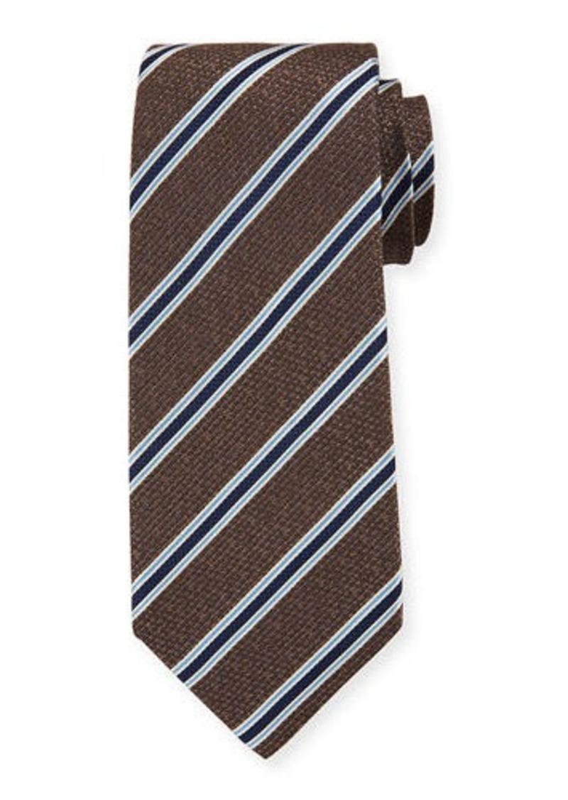Isaia Men's Silk Textured with Stripes Tie