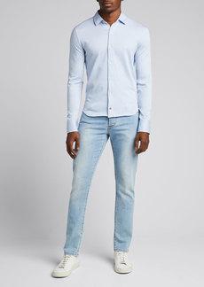 Isaia Men's Solid Jersey Sport Shirt