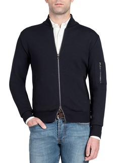 Isaia Men's Solid Knit Bomber Sweater