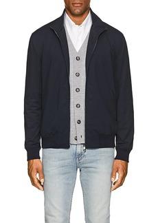 Isaia Men's Tech-Jersey Bomber Jacket