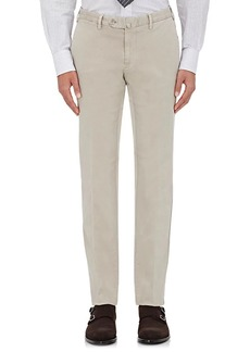 Isaia Men's Twill Flat-Front Trousers