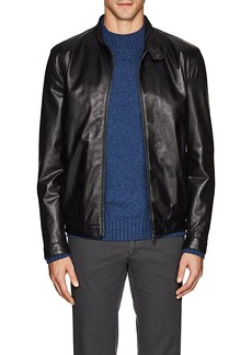 Isaia Men's Vintage Leather Moto Jacket