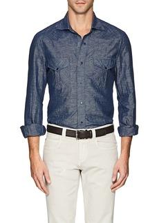Isaia Men's Western Linen-Cotton Shirt