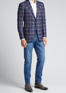 Isaia Men's Windowpane Cashmere Sport Jacket