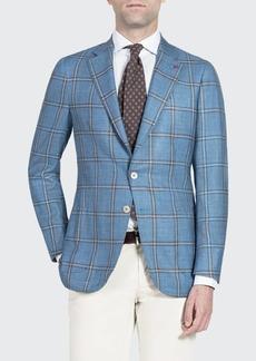 Isaia Men's Wool-Blend Windowpane Check Sport Jacket
