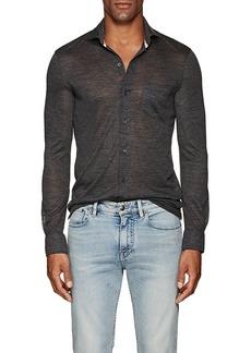 Isaia Men's Wool Jersey Shirt