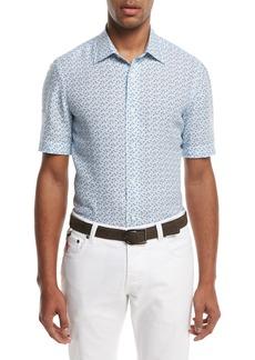 Isaia Micro-Leaves Short-Sleeve Sport Shirt