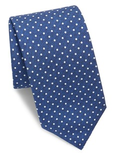Isaia Mini White Polka Dot Silk Tie