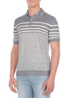 Isaia Multi-Striped Linen-Blend Polo Shirt
