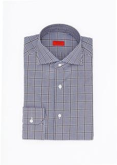 Isaia Overcheck Cotton Dress Shirt