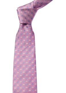 Isaia Pink & Blue Geometric Silk Tie