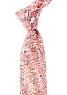 Isaia Pink Polka Dot Silk Tie