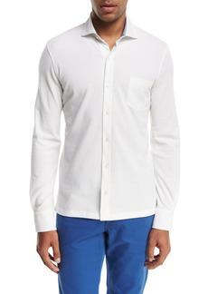 Isaia Piqué Knit Long-Sleeve Oxford Shirt