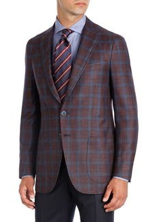 Isaia Plaid Wool-Silk-Linen Two-Button Sport Coat