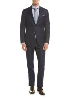 Isaia Sanita Tonal Windowpane Super 160s Wool Two-Piece Suit