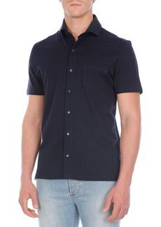 Isaia Seersucker Short-Sleeve Sport Shirt