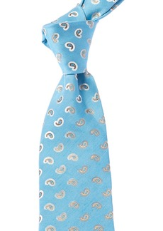 Isaia Sky Light Blue Paisley Silk & Linen-Blend Tie