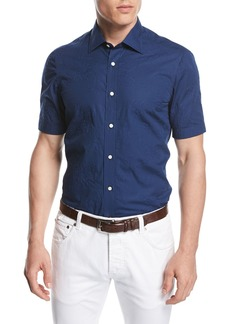Isaia Stitched Floral Short-Sleeve Cotton Shirt