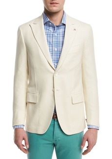 Isaia Textured Peak-Lapel Two-Button Blazer