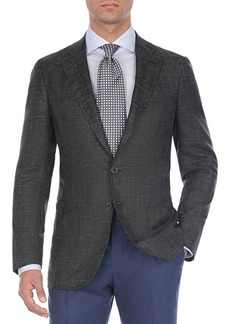 Isaia Textured Tri-Blend Two-Button Blazer