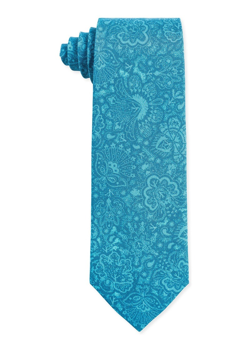 Isaia Tonal Paisley Silk Tie