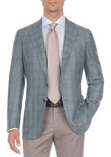 Isaia Two-Tone Plaid Wool-Blend Sport Coat