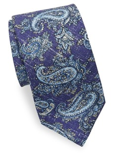 Isaia Washed Paisley Silk Tie