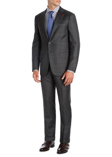 Isaia Windowpane Super 140s Wool Two-Piece Suit