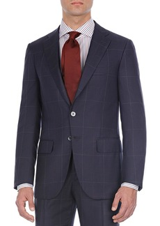 Isaia Windowpane Two-Piece Wool Suit
