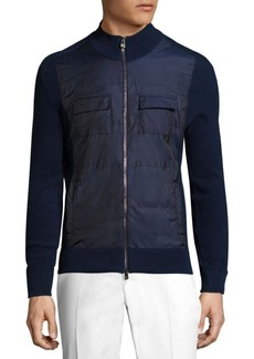 Isaia Zippered Cotton Blend Jacket