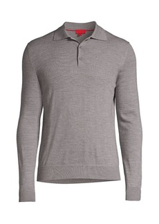 Isaia Long-Sleeve Merino Wool Polo