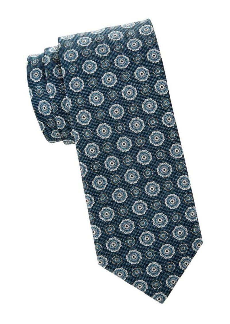 Isaia Medallion Wool & Silk Blend Tie