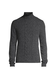 Isaia Melange Wool Cable-Knit Turtleneck