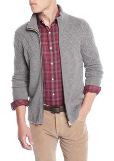 Isaia Men's Argyle-Jacquard Zip-Front Cashmere Jacket