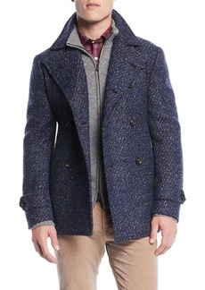 Isaia Men's Boucle Wool-Blend Pea Coat