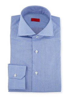 Isaia Men's Chambray Print Dress Shirt