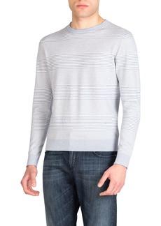 Isaia Men's Cotton-Cashmere Striped Crewneck Sweater