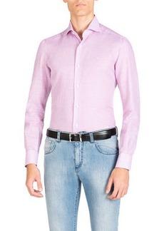 Isaia Men's Cotton/Linen Check Dress Shirt