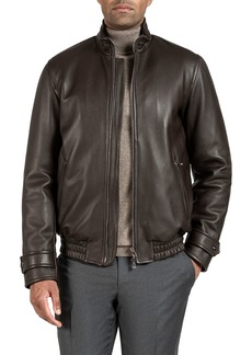 Isaia Men's Deer Leather Bomber Jacket