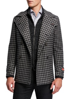 Isaia Men's Exploded Houndstooth Double-Breasted Coat