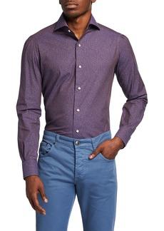 Isaia Men's Floral Cotton Sport Shirt
