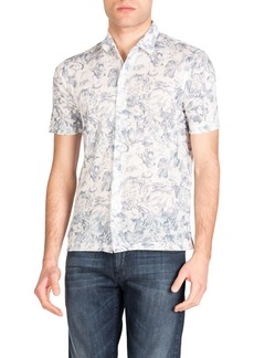 Isaia Men's Floral-Print Knit Linen Short-Sleeve Shirt