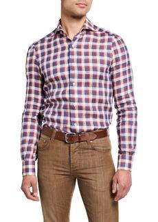 Isaia Men's Gingham Check Sport Shirt