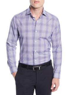 Isaia Men's Graph Plaid Cotton Dress Shirt