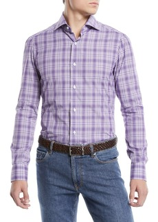 Isaia Men's Graph Plaid Cotton Sport Shirt